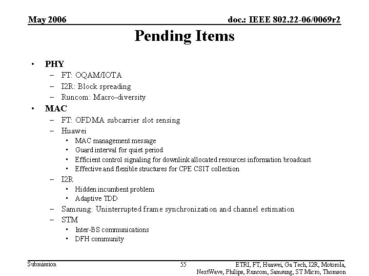 May 2006 doc. : IEEE 802. 22 -06/0069 r 2 Pending Items • PHY