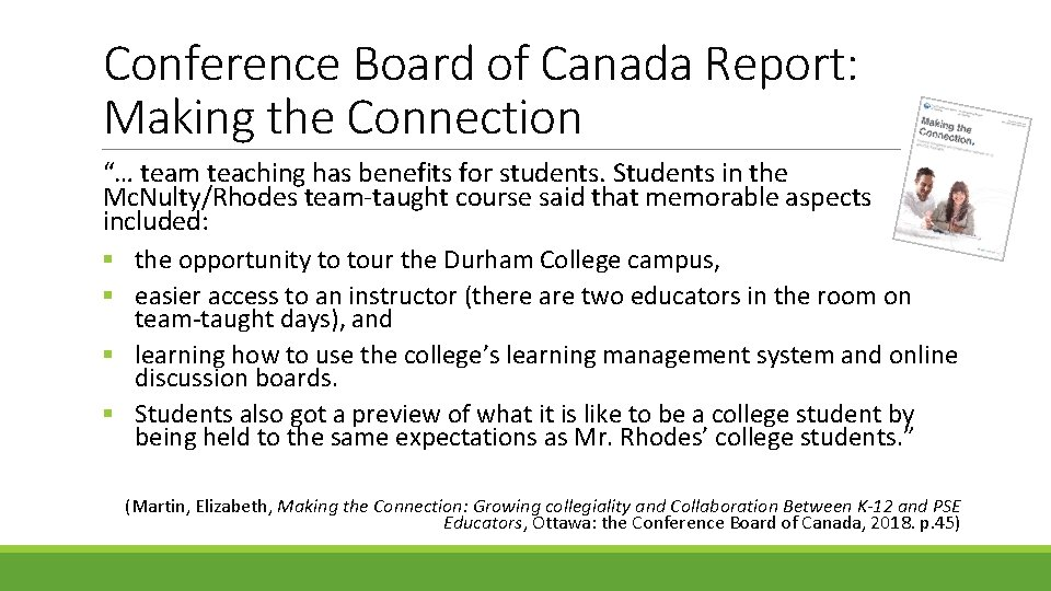 """Conference Board of Canada Report: Making the Connection """"… team teaching has benefits for"""
