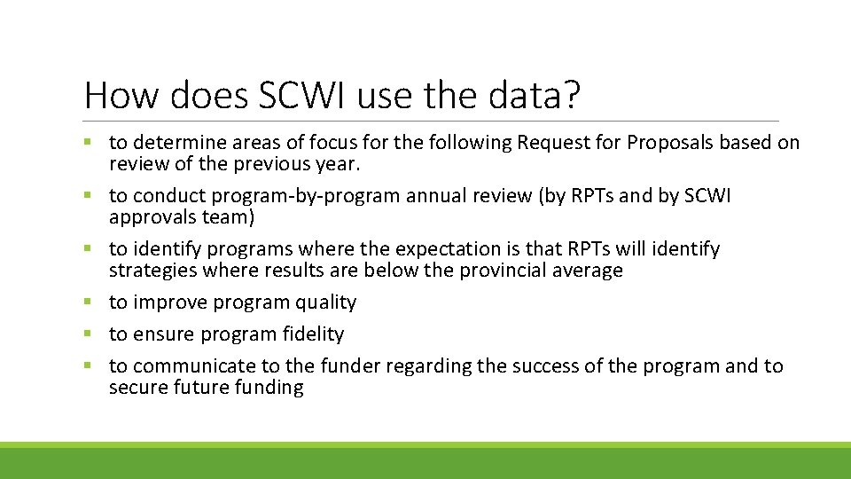 How does SCWI use the data? § to determine areas of focus for the