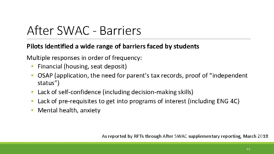 After SWAC - Barriers Pilots identified a wide range of barriers faced by students