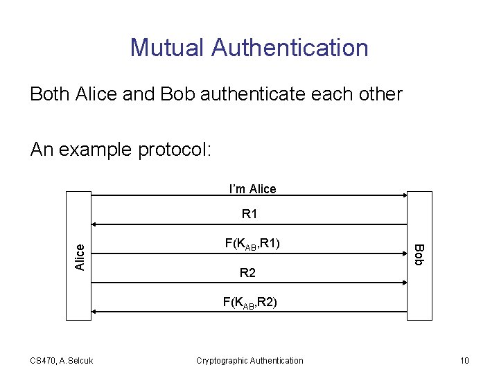 Mutual Authentication Both Alice and Bob authenticate each other An example protocol: I'm Alice