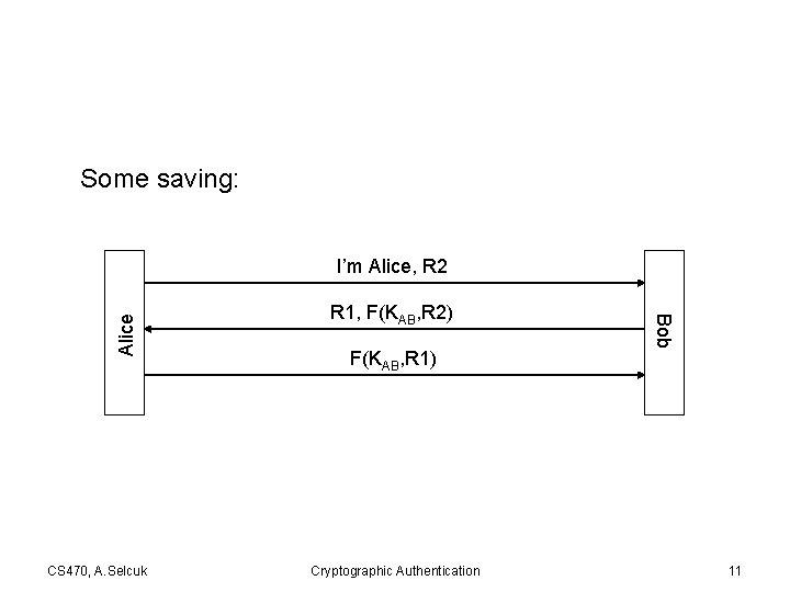 Some saving: CS 470, A. Selcuk R 1, F(KAB, R 2) F(KAB, R 1)