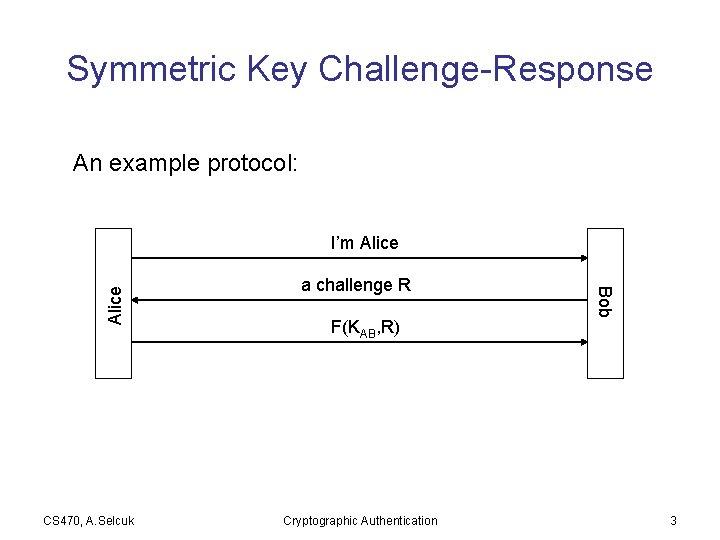 Symmetric Key Challenge-Response An example protocol: CS 470, A. Selcuk a challenge R F(KAB,