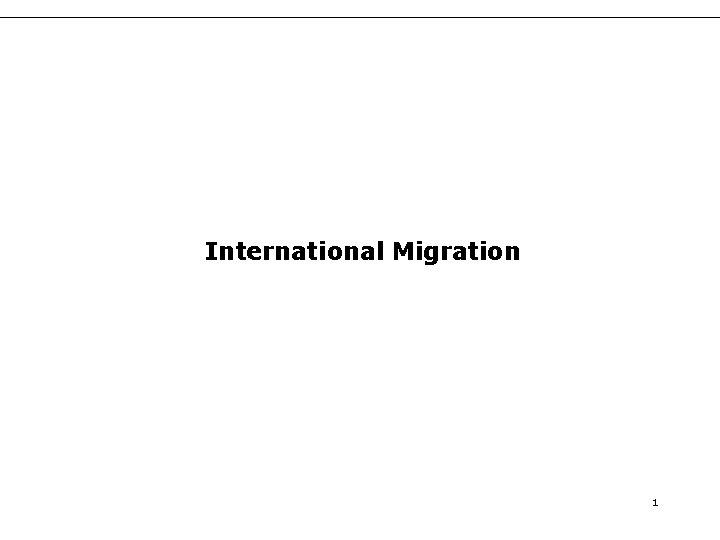International Migration 1