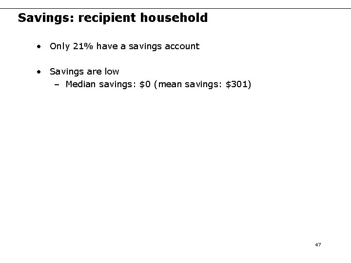 Savings: recipient household • Only 21% have a savings account • Savings are low