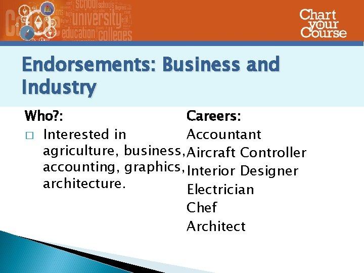 Endorsements: Business and Industry Who? : Careers: � Interested in Accountant agriculture, business, Aircraft