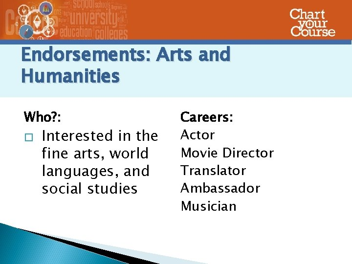 Endorsements: Arts and Humanities Who? : � Interested in the fine arts, world languages,