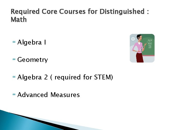 Required Core Courses for Distinguished : Math Algebra I Geometry Algebra 2 ( required