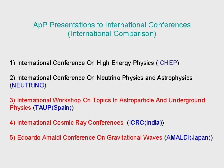 Ap. P Presentations to International Conferences (International Comparison) 1) International Conference On High Energy
