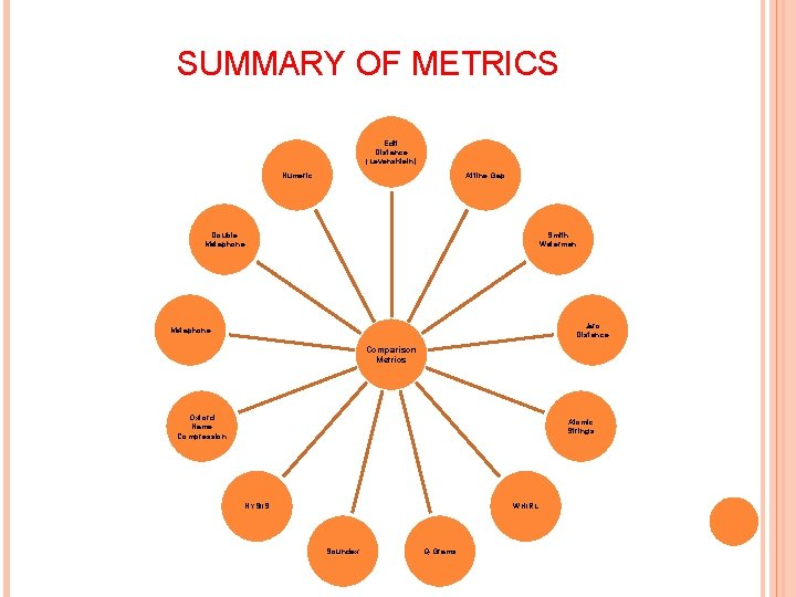 SUMMARY OF METRICS Edit Distance (Levenshtein) Numeric Affine Gap Double Metaphone Smith Waterman Jaro