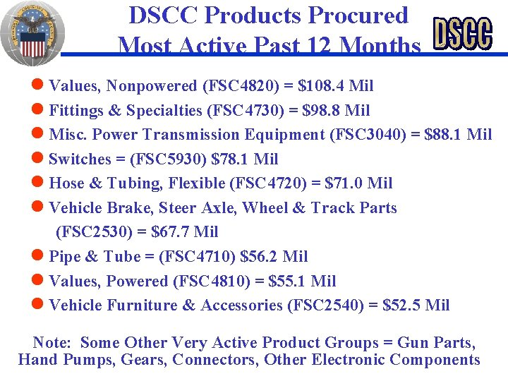 DSCC Products Procured Most Active Past 12 Months Values, Nonpowered (FSC 4820) = $108.