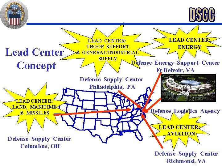 Lead Center Concept LEAD CENTER: LAND, MARITIME & MISSILES Defense Supply Center Columbus, OH
