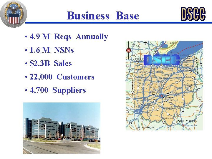 Business Base • 4. 9 M Reqs Annually • 1. 6 M NSNs •