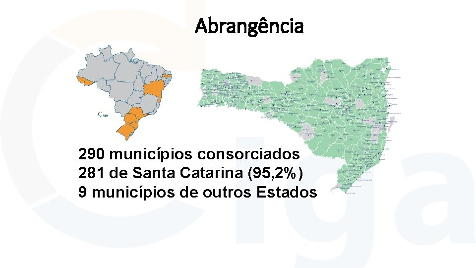 Abrangência 290 municípios consorciados 281 de Santa Catarina (95, 2%) 9 municípios de outros