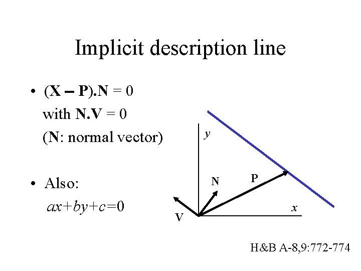 Implicit description line • (X P). N = 0 with N. V = 0