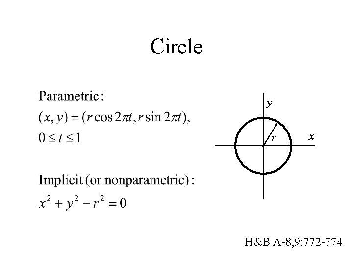 Circle y r x H&B A-8, 9: 772 -774