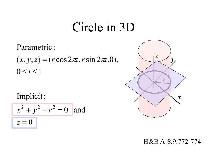 Circle in 3 D z y r x H&B A-8, 9: 772 -774