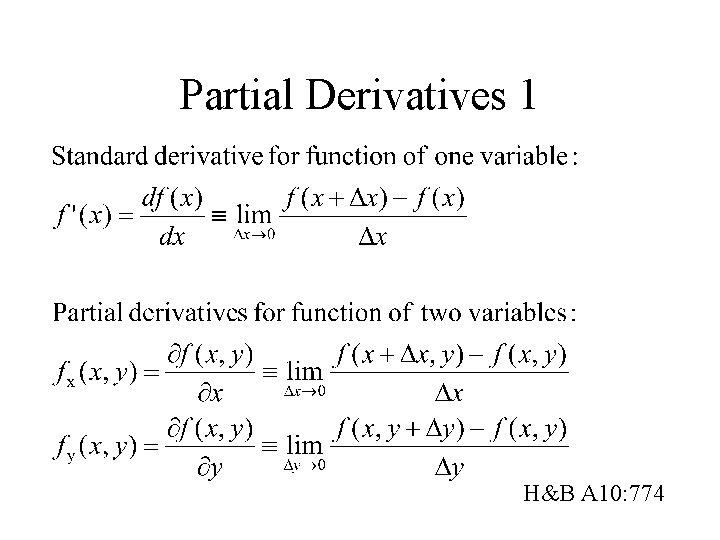 Partial Derivatives 1 H&B A 10: 774