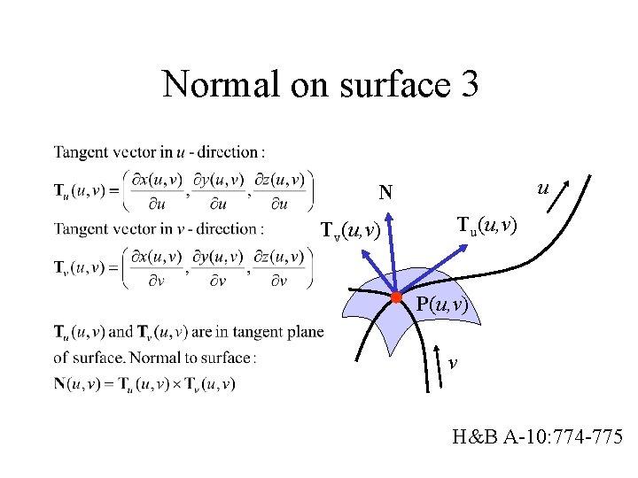 Normal on surface 3 u N Tv(u, v) Tu(u, v) P(u, v) v H&B