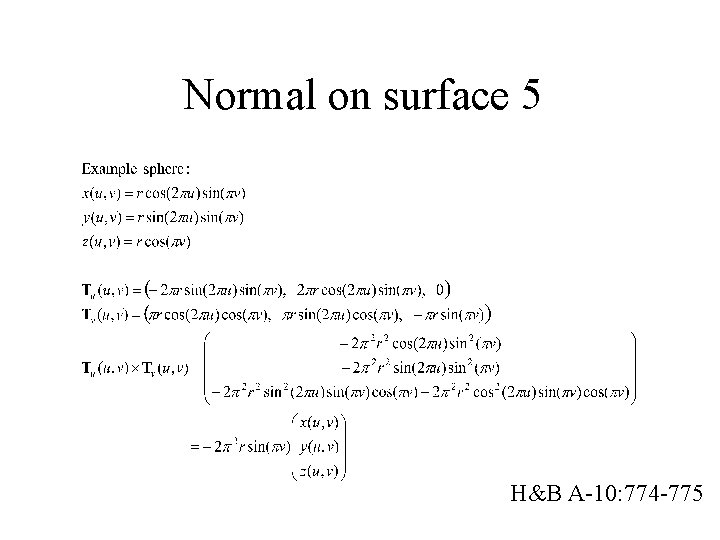 Normal on surface 5 H&B A-10: 774 -775