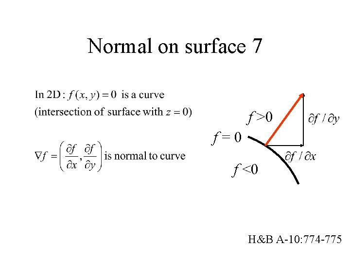 Normal on surface 7 f >0 f=0 f <0 H&B A-10: 774 -775
