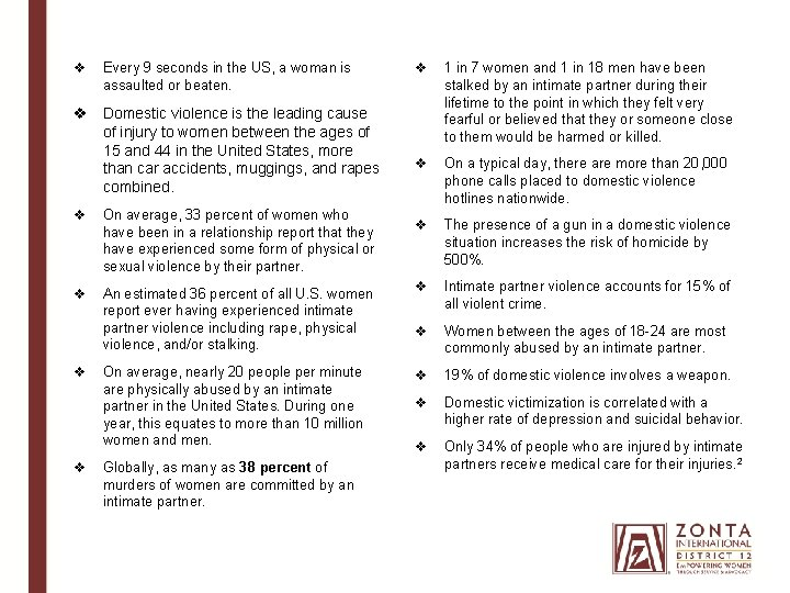 v Every 9 seconds in the US, a woman is assaulted or beaten. v