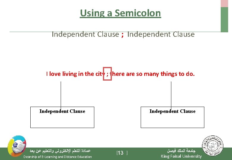 Using a Semicolon Independent Clause ; Independent Clause I love living in the city