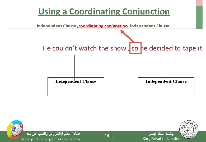 Using a Coordinating Conjunction Independent Clause , coordinating conjunction Independent Clause He couldn't watch