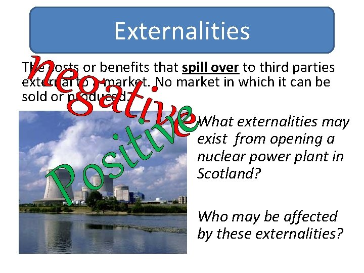 Externalities nega tivvee i t i s o P The costs or benefits that
