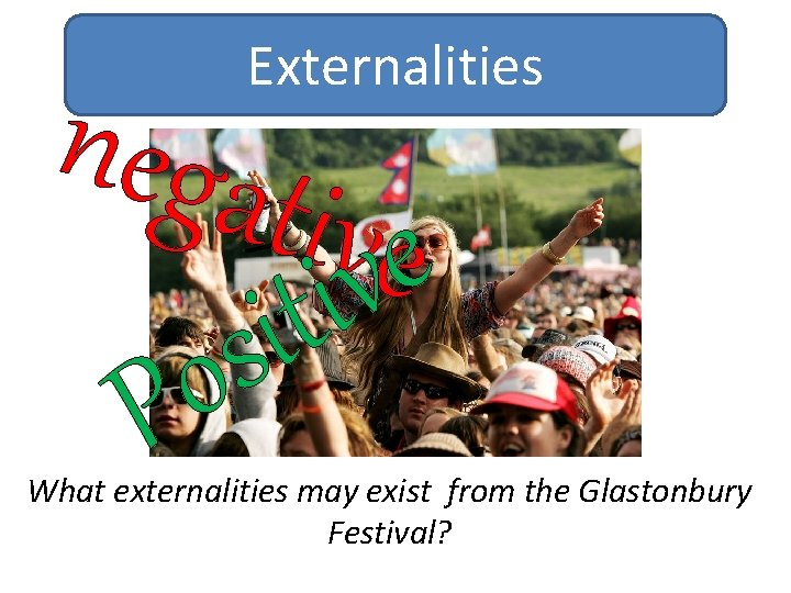 Externalities nega tivvee i t i s o P What externalities may exist from