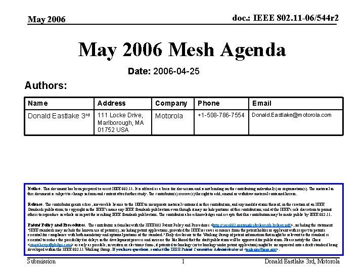 doc. : IEEE 802. 11 -06/544 r 2 May 2006 Mesh Agenda Date: 2006