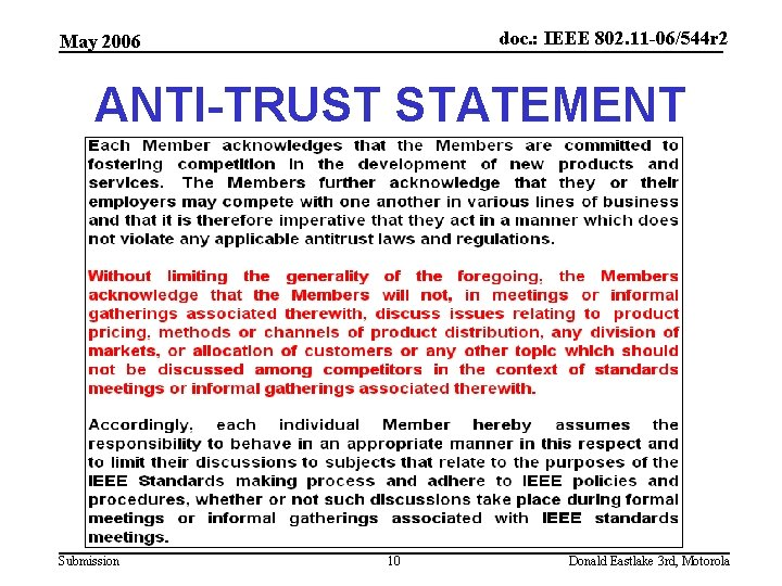 doc. : IEEE 802. 11 -06/544 r 2 May 2006 ANTI-TRUST STATEMENT Submission 10