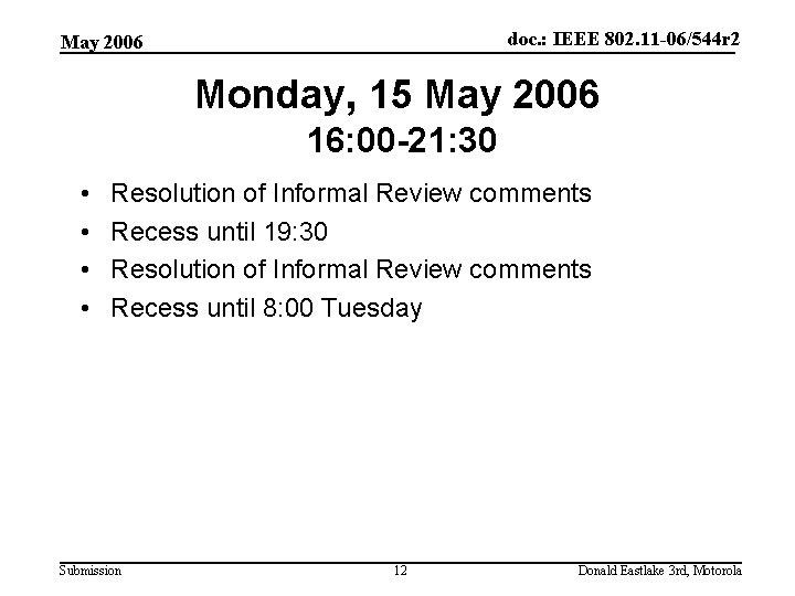doc. : IEEE 802. 11 -06/544 r 2 May 2006 Monday, 15 May 2006