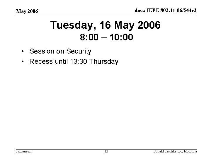 doc. : IEEE 802. 11 -06/544 r 2 May 2006 Tuesday, 16 May 2006