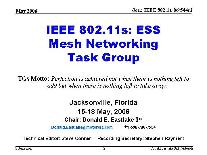 doc. : IEEE 802. 11 -06/544 r 2 May 2006 IEEE 802. 11 s: