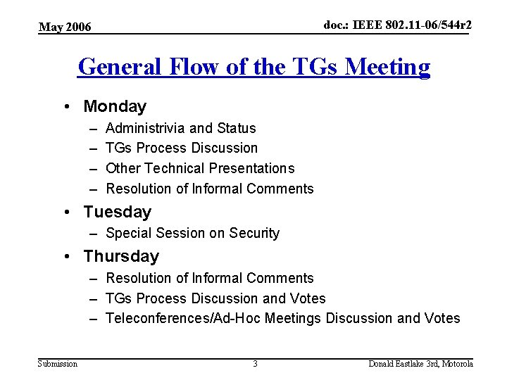 doc. : IEEE 802. 11 -06/544 r 2 May 2006 General Flow of the