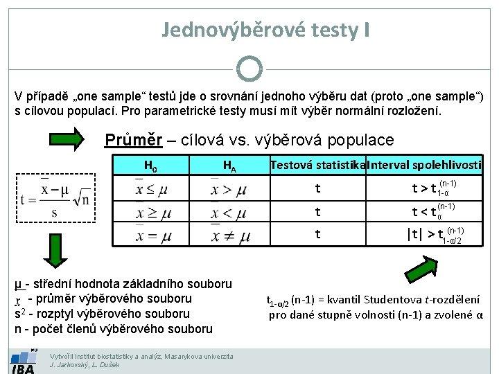 """Jednovýběrové testy I V případě """"one sample"""" testů jde o srovnání jednoho výběru dat"""