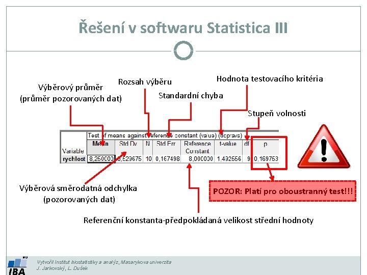 Řešení v softwaru Statistica III Rozsah výběru Výběrový průměr (průměr pozorovaných dat) Hodnota testovacího