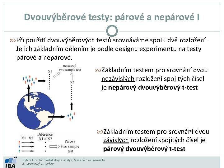 Dvouvýběrové testy: párové a nepárové I Při použití dvouvýběrových testů srovnáváme spolu dvě rozložení.