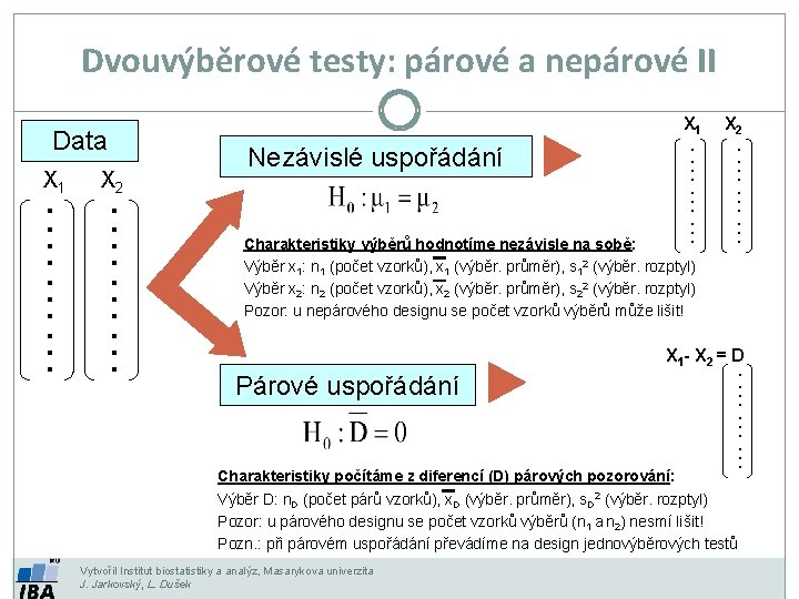 Dvouvýběrové testy: párové a nepárové II Charakteristiky výběrů hodnotíme nezávisle na sobě: Výběr x