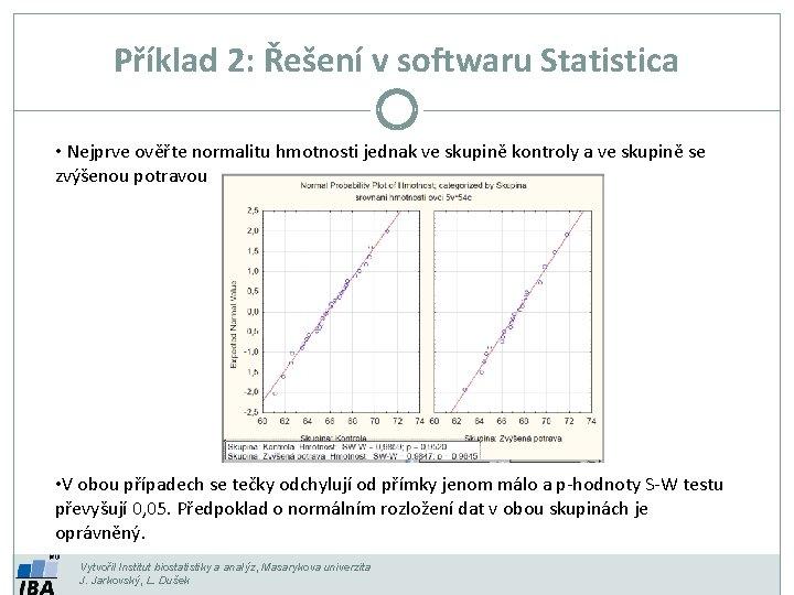Příklad 2: Řešení v softwaru Statistica • Nejprve ověřte normalitu hmotnosti jednak ve skupině
