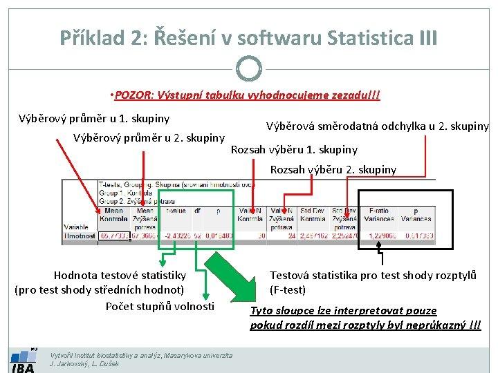 Příklad 2: Řešení v softwaru Statistica III • POZOR: Výstupní tabulku vyhodnocujeme zezadu!!! Výběrový