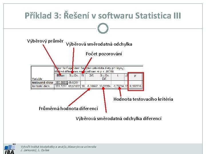 Příklad 3: Řešení v softwaru Statistica III Výběrový průměr Výběrová směrodatná odchylka Počet pozorování