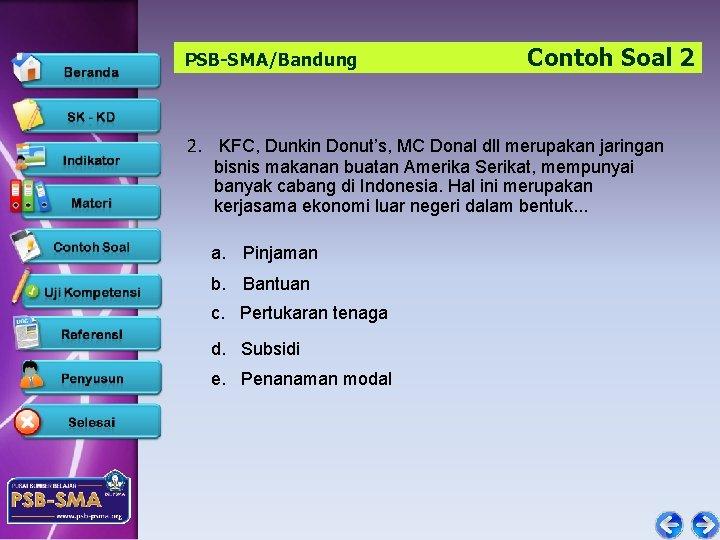 PSB-SMA/Bandung Contoh Soal 2 2. KFC, Dunkin Donut's, MC Donal dll merupakan jaringan bisnis