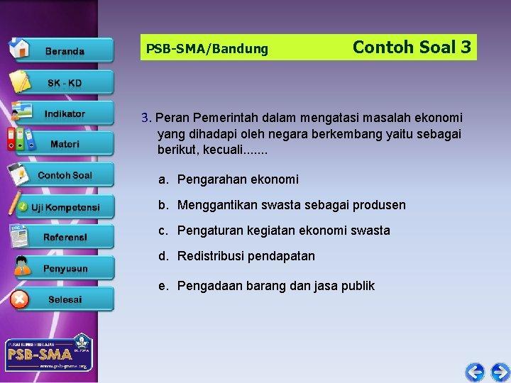 PSB-SMA/Bandung Contoh Soal 3 3. Peran Pemerintah dalam mengatasi masalah ekonomi yang dihadapi oleh