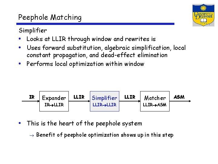 Peephole Matching Simplifier • Looks at LLIR through window and rewrites is • Uses