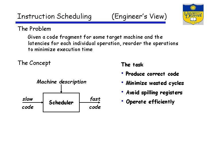 Instruction Scheduling (Engineer's View) The Problem Given a code fragment for some target machine
