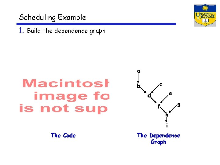 Scheduling Example 1. Build the dependence graph a c b e d g f