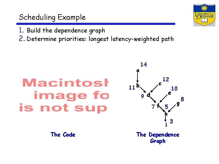 Scheduling Example 1. Build the dependence graph 2. Determine priorities: longest latency-weighted path a