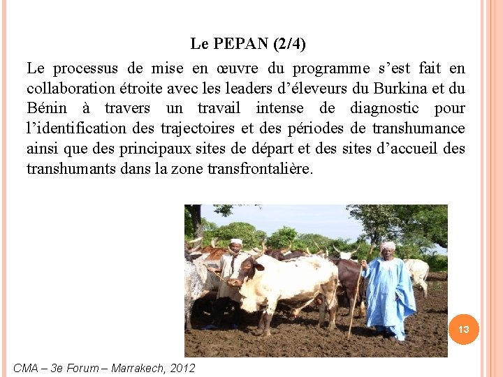 Le PEPAN (2/4) Le processus de mise en œuvre du programme s'est fait en